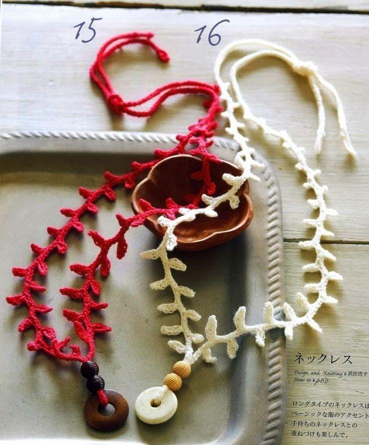 Crochet necklaces Crochet necklace ♥LCJ-MRS️♥️ with diagrams. ---- Colgante Crochet Ramitas de Olivo - Patrones Crochet
