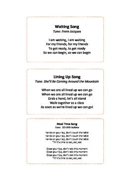 EASY TRANSITION SONGS FOR ECE - TeachersPayTeachers.com