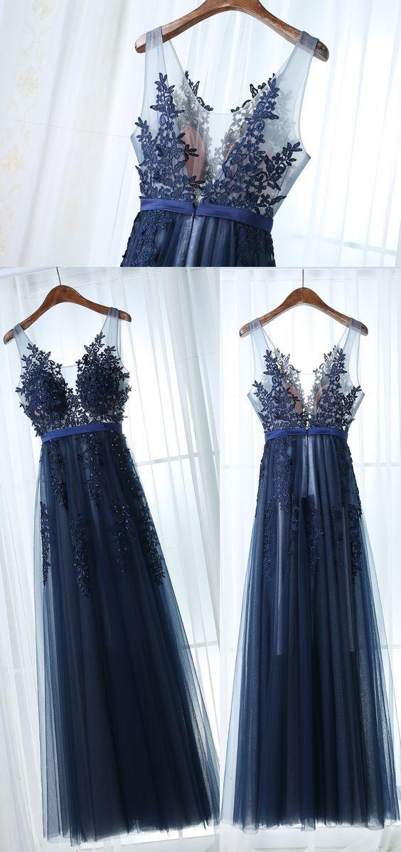 Neue Ankunft A-Line V-Ausschnitt Ärmellos Marineblau Tüll Langes Abendkleid H031