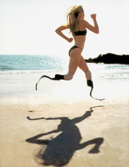 Aimee Mullins - She is a brave, strong, inspirational woman. She is also a paralympian athletic, actress and model - and she is beautiful. Due to a birth defect she had to have both of her legs amputated below the knee on her 1st birthday. She learned to walk on prosthetic legs by the time she was two, and the rest of her life she has been doing the usual athletic activies of her peers!