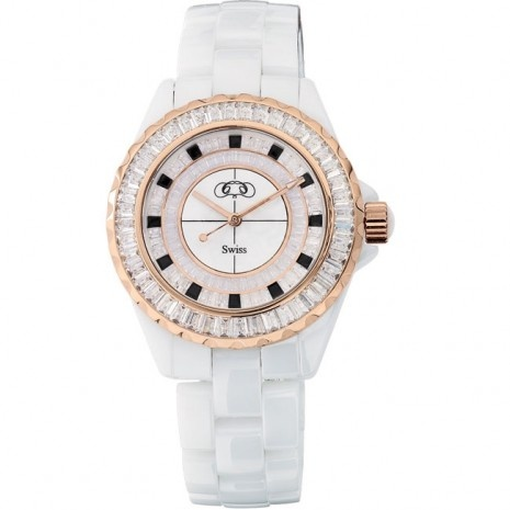 White & rose gold plated ceramic watch