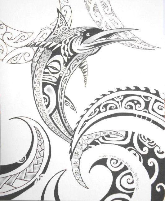 Maori Symbols | Big Fish & Waves Tattooed with Maori Polynesian Design & Symbols