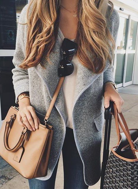 like: outfit, coziness of coat, looks comfy yet stylish, length of coat dislike: purse #fall #fashion / gray coat