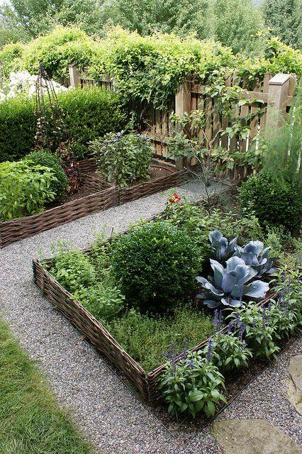 Vegetable garden with wattle beds