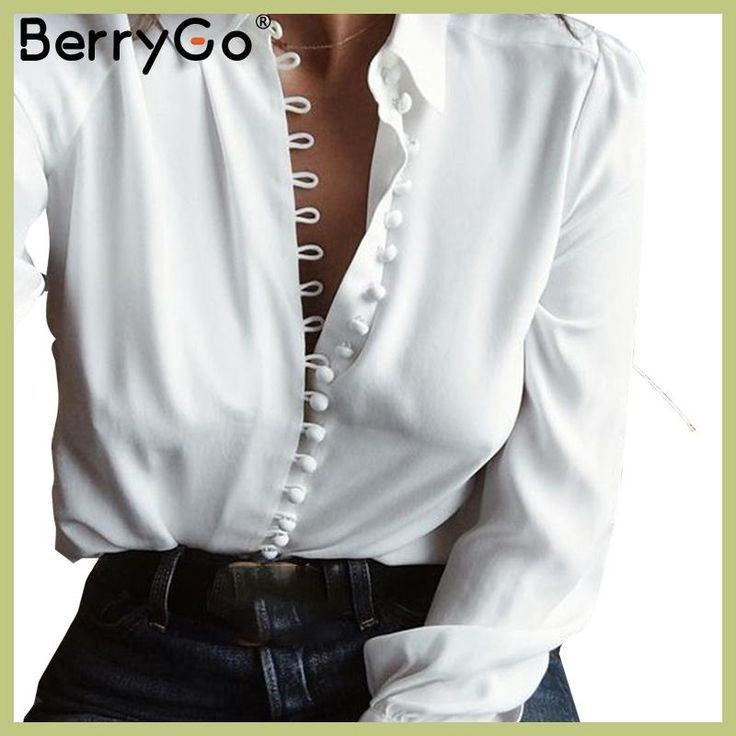 BerryGo Elegant long sleeve white blouse shirt Women casual streetwear shirt top Female cotton beach button shirt camisa 2017