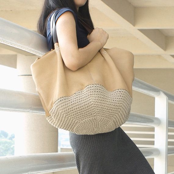 Genuine Leather Bag / Handmade Knitting Purse / Shopping bag / Shoulder Bag / Leather Purse-H7312