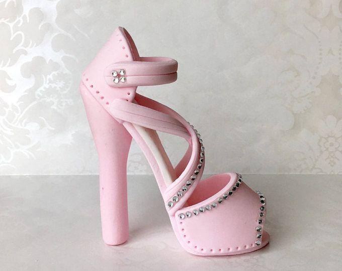 Sweet 16 de tacón (fondant) de la torta. Torta de fondant zapato. Tacón alto de la torta. Topper calzado hecho a mano. Torta de fondant rosa zapato