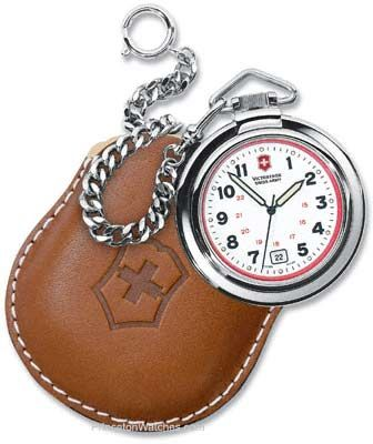Swiss Army Pocket Watch with Chain and Leather Pouch