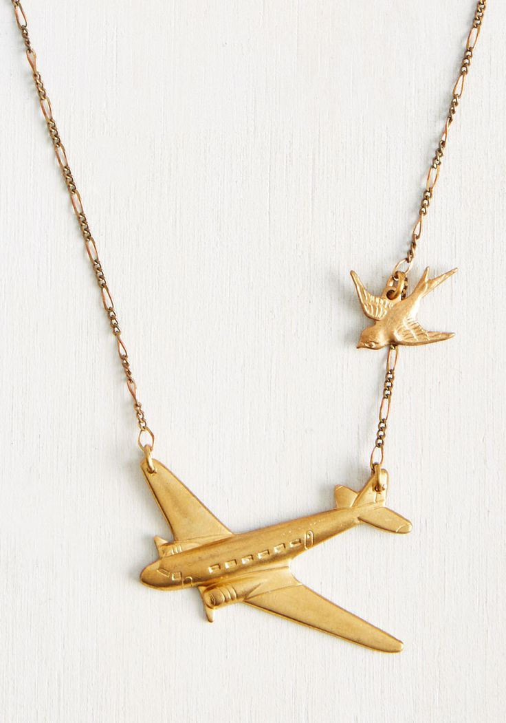 Flight Club Necklace. Get your like-minded gals together for a meeting of fashionable mavens to discuss this golden necklace by Erica Weiner. #gold…