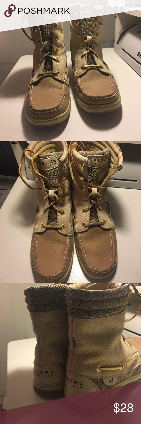 Sperry Top-Sider Boots Original Sperry Top-Sider boots! Worn, but still great condition, except for one little rip in the seam on the back right boot-not all that noticeable, but shown in the last picture! Sperry Top-Sider Shoes Ankle Boots & Booties