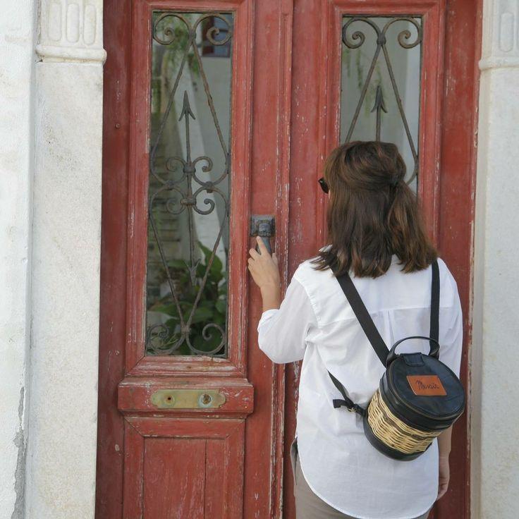 Handmade Basket Leather Backpack - Greek Designers - Greek Culture - Island Life - Stylish Outfit - Fashion - Summer 2017