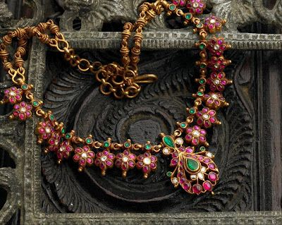Indian Jewellery and Clothing: Elegant temple ruby necklace from Arnav jewellers..