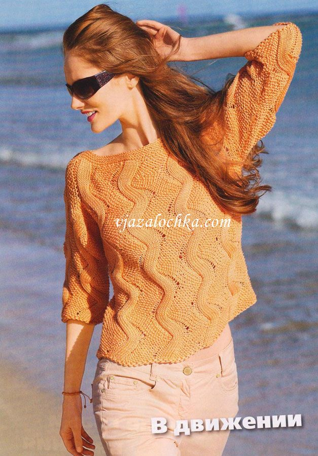 Пуловер с узором из зигзагов