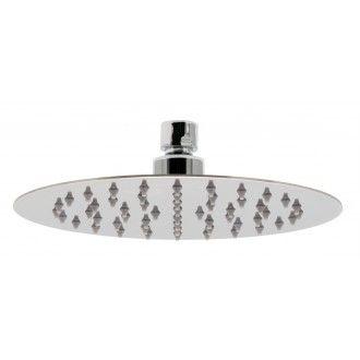 "aquablade single function easy clean slim line round shower head, 200mm (8""), chrome, 0.2 bar LP - showering - fixed shower heads - VADO"