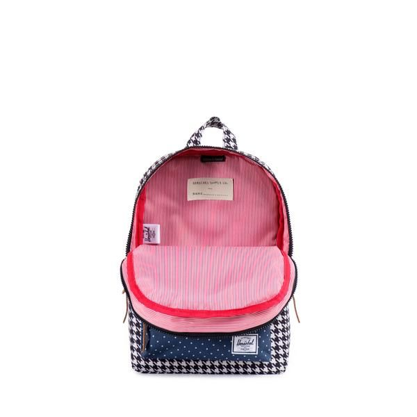 Herschel Supply Settlement Backpack   Kids - The Settlement Kids backpack is designed after Herschel Supply's popular Settlement silhouette which has been sized specifically for youth. This durable backpack comes with plastic zippers and an internal media pocket.  Fully lined with our signature coated cotton-poly fabric Exposed plastic zippers Leather zipper pulls Single front pocket with key clip $40 :: sale $22 (2016)
