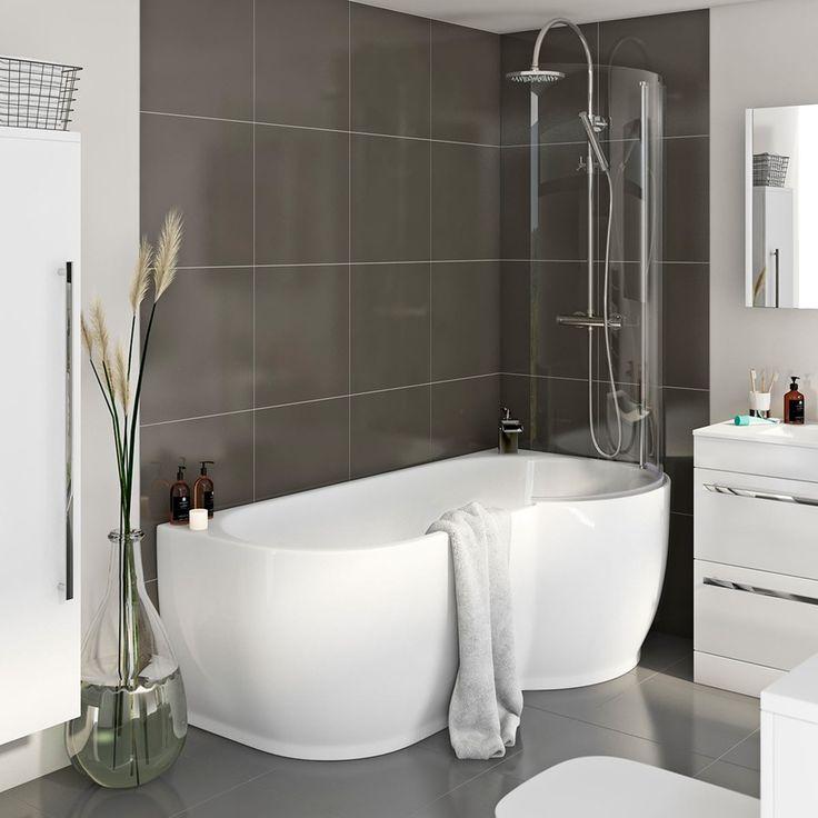 Maine P Shaped Freestanding Shower Bath & 6mm Screen RH