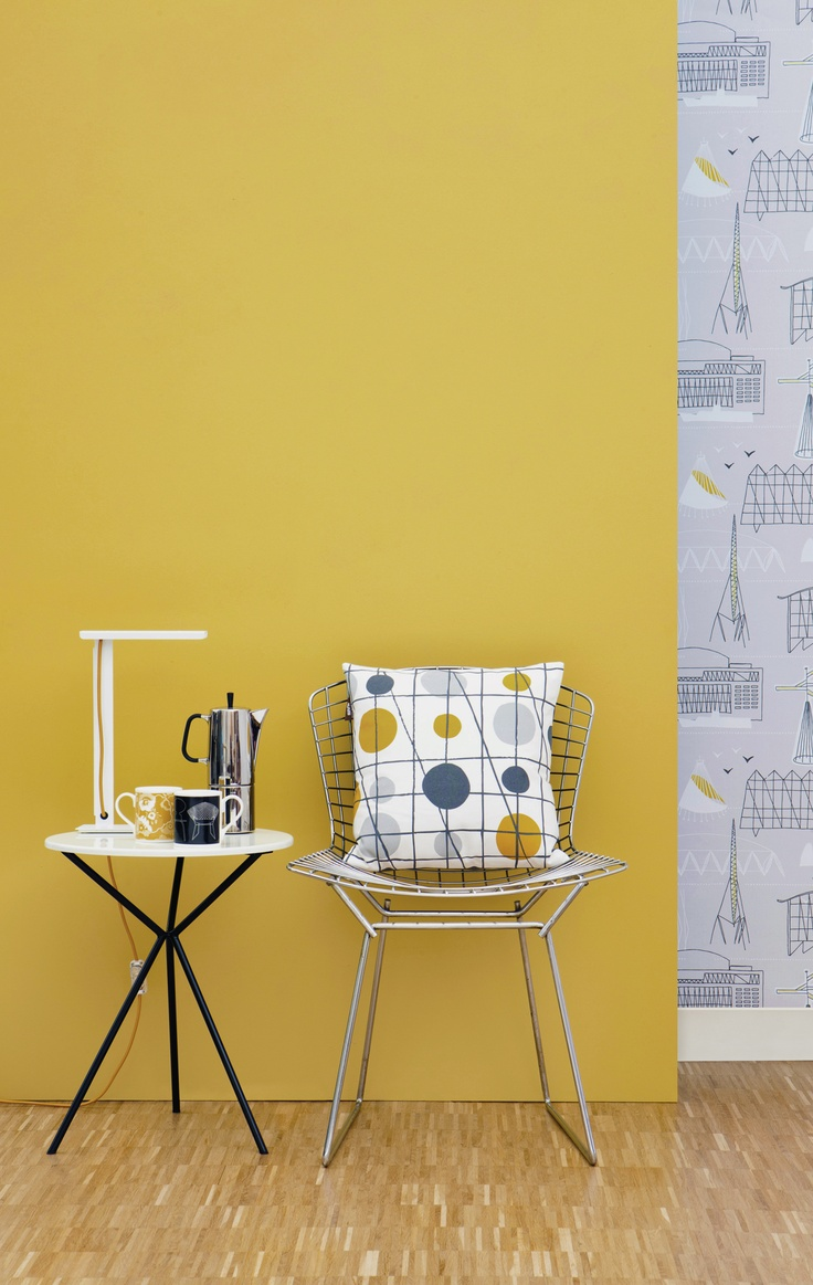 Mini Moderns 'Mustard' paint with mustard 'Pavilion' cushion with Sitting Comfortably? + Alice mugs