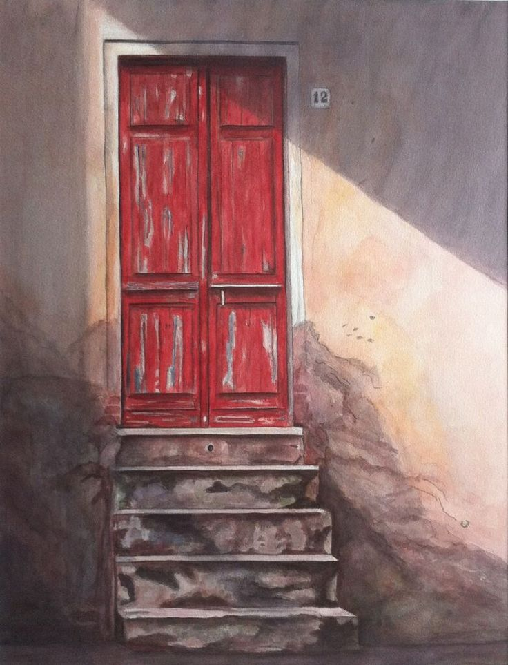 Red door / Watercolour/ Joke van der Klink