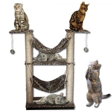 Este cómodo mueble Gimnasio para gatos, consta de: 2 plataformas de 70 x 35 cm tapizadas en tela térmica( una de base y una aérea) 2 plataformas de30 x 35 cm tapizadas en tela térmica( ambas  aéreas) 2 Postes de 60 cm de altura x 10 cm de diámetro forrados en lazo de fique de 6mm 2 Postes de 45 cm de altura x 10 cm de diámetro forrados en lazo de fique de 6mm 2 hamacas para retozo del los míninos