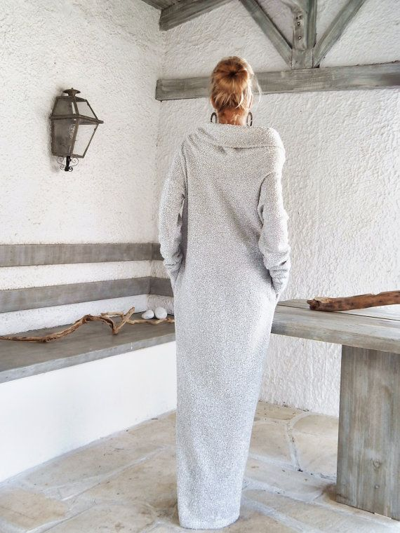 Off White Winter Wool Boucle Turtleneck Maxi Dress Kaftan with Pockets by SynthiaCouture