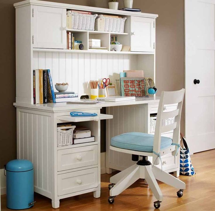 Girl Bedroom Desk White And Blue And