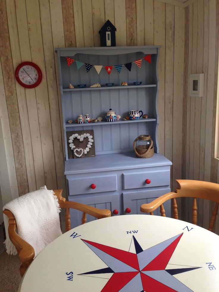 Interior of static caravan with nautical theme dresser for Interior caravan designs