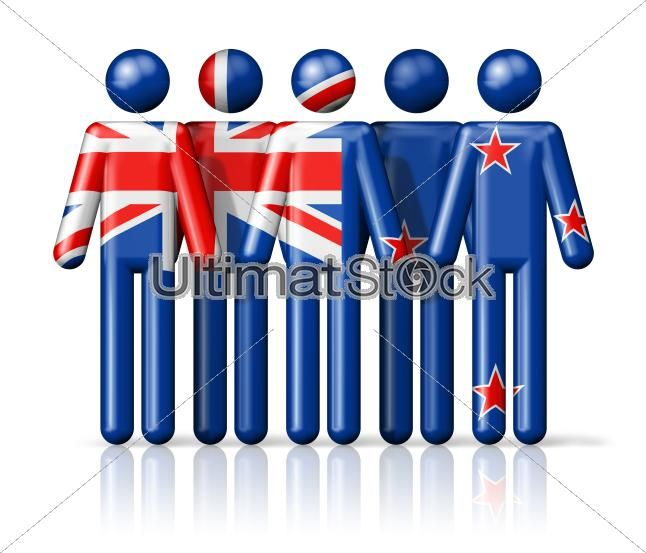 Flag of New Zealand on stick figure