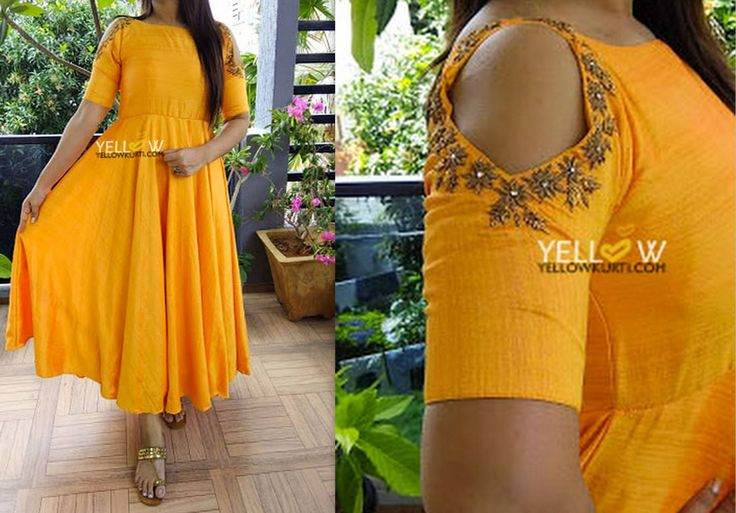 Simple and pretty evening gown in sunshine Yellow dual shaded Silk with cold shoulder intricately highlighted with antique gold and zardosi work . Doable colors - Greenish blue Hot pink Yellow. Length and pattern can be customised as per your choice. Kindly write to teamyellow@yellowkurti.com 22 June 2017