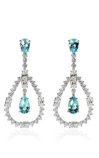 White gold earrings with paraiba tourmalines and white diamonds by ARA VARTANIAN for Preorder on Moda Operandi
