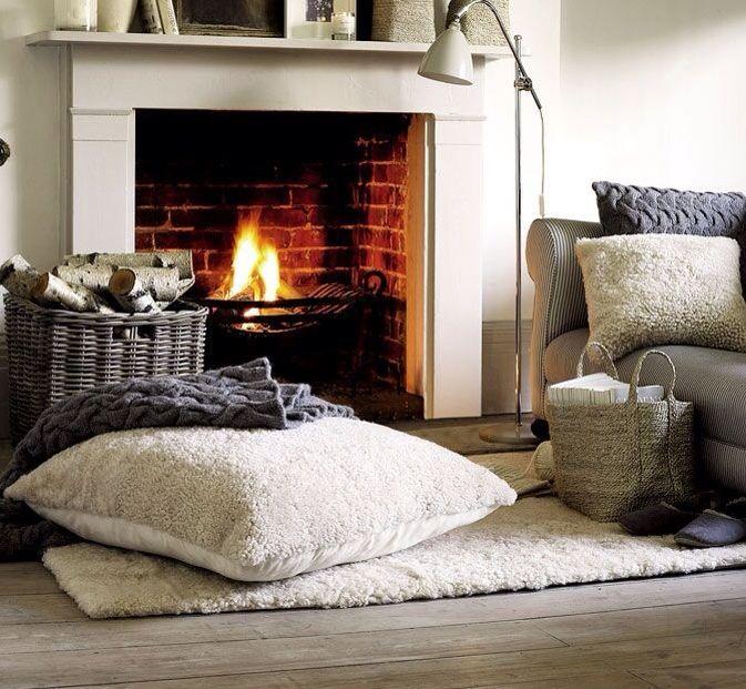 Comfy fireplace.