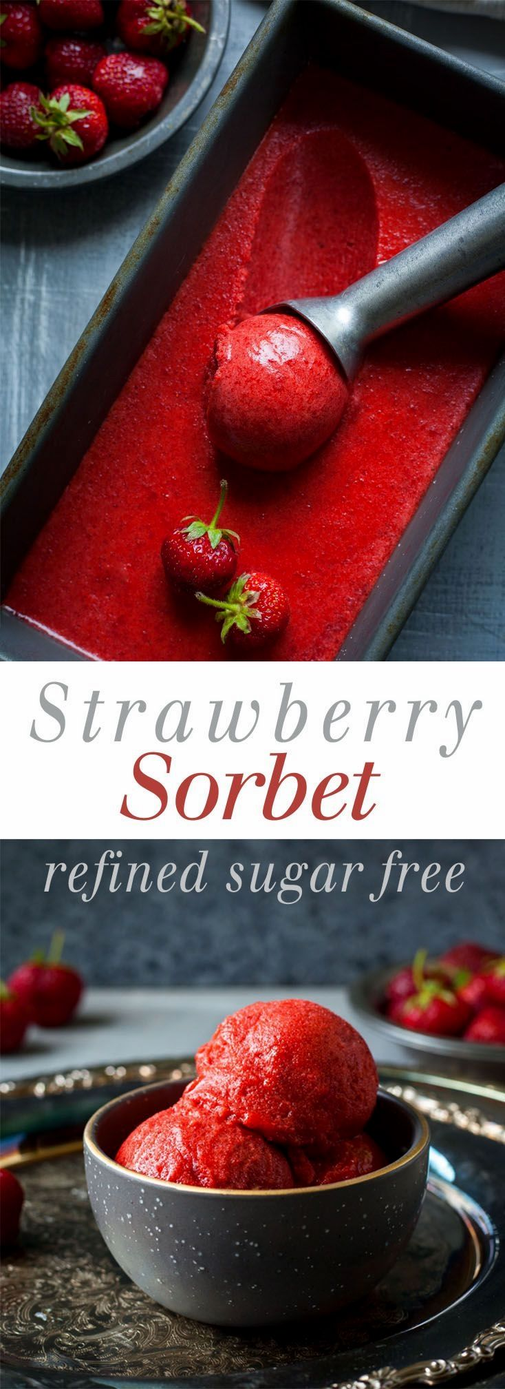 Strawberry Sorbet - Naturally sweetened, 3 ingredients, and so refreshing! This is the best healthy, vegan, frozen summer treat.