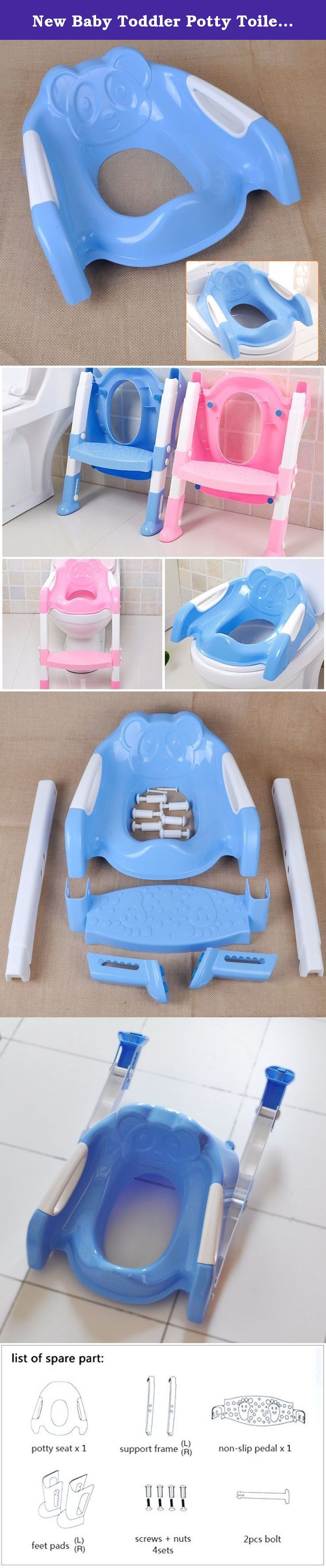 New Baby Toddler Potty Toilet Trainer Safety Seat Chair Step with Adjustable Ladder Infant Toilet Training Non-slip Folding Seat (blue). 1) Seat handles on either side for safety. 2) Seat attaches to the toilet seat. 3) 2 point height adjustable step with adjustable height feet. 4) Seat cushion and ladder feet cushion are designed with non-slip pad, effectively prevent the sliding. 5) It can be folded away easily, save your storage space. Note: 1.Please allow 1-3mm error due to manual...