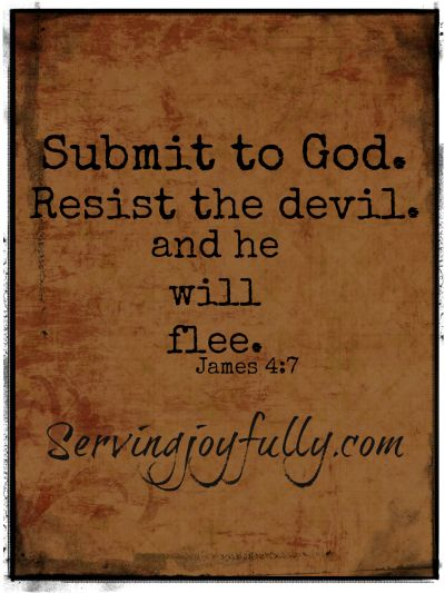 Submit to God. Resist the devil, and he will flee -James 4:7 (Article about following Christ's example to resist temptation).