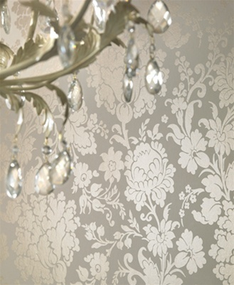 Damask Wallpaper - silver and cream