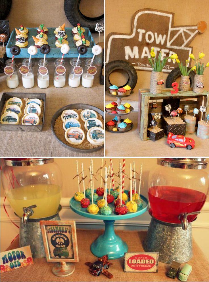 Vintage CARS Radiator Springs themed Birthday Party via Kara's Party Ideas #cars #themed #birthday #party #cake #radiator #springs #towmater...