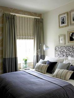 blickdichte gardinen schlafzimmer zweifarbig dekokissen wandtapete