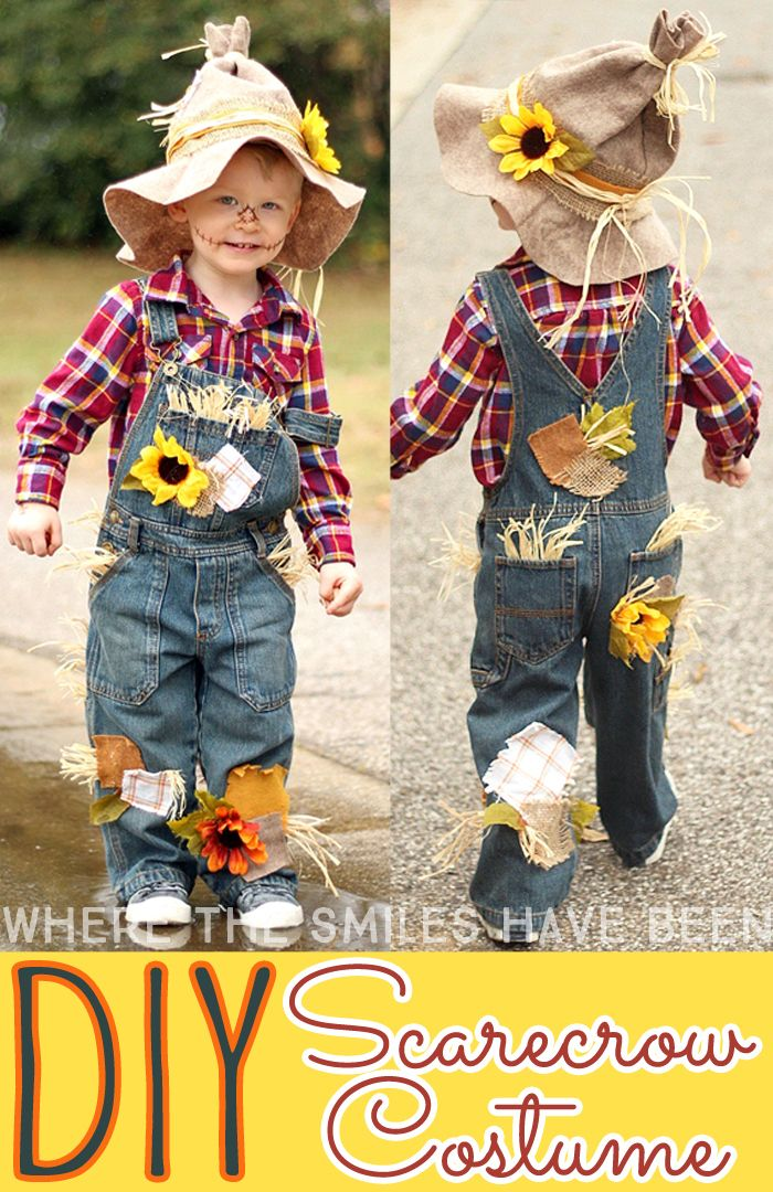 This is SO CUTE!! Learn how to make this DIY Scarecrow Costume that works great…
