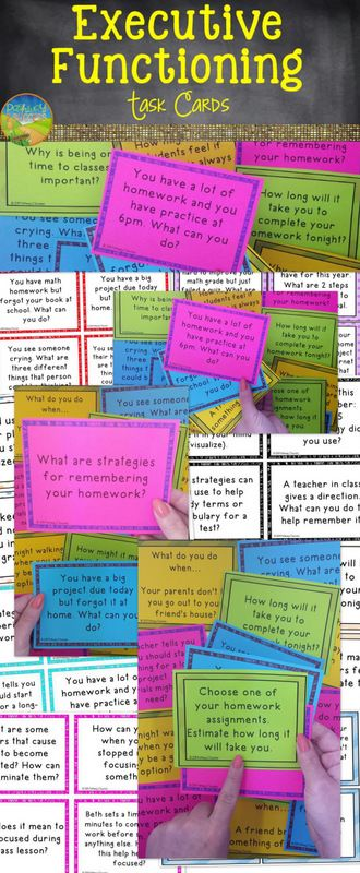 Teach executive functioning skills with task cards: Planning, Task Initiation, Organization, Self-Control, and more.