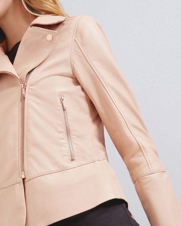 Leather biker jacket - Natural | Jackets and Coats | Ted Baker UK