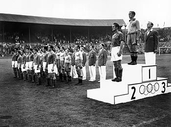 Medal ceremony for the 1948 Olympic football (soccer) tournament