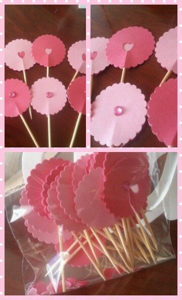 Pink cupcake toppers made by  Www.facebook.com/celebrationsbynic