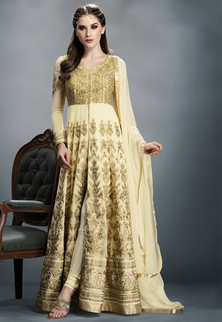 Beige Faux Georgette and Art Silk Abaya Style Churidar Kameez