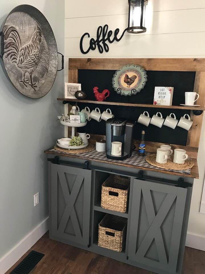 Coffee Bars In Kitchen, Coffee Bar Home, Home Coffee Stations, Dyi Coffee Bar, Wine And Coffee Bar, Bar Kitchen, Coffee Coffee, Kitchen Ideas, Kitchen Cabinets