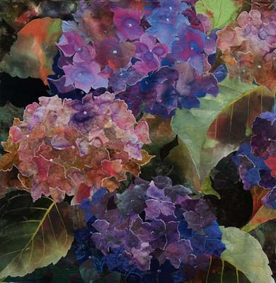 Hydrangea - textile collage  22 x 22 inches. By Amanda Richardson