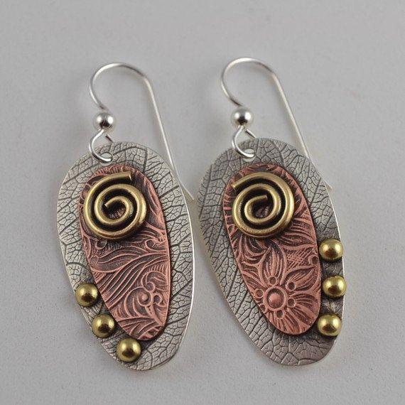 Mixed+Metal+Earrings++Copper+Designer+by+DeborahCloseDesigns,+$90.00