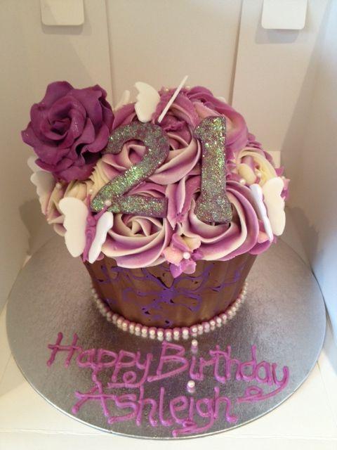 Purple Themed 21st Giant Cupcake