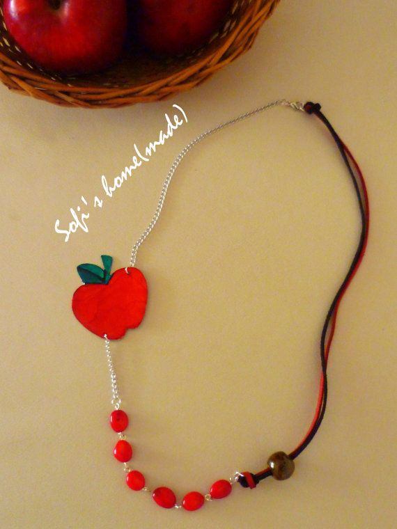 Handmade necklace with enamel apple and corals plus free gift