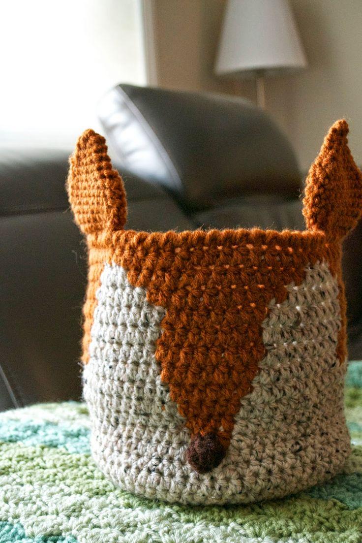 Crochet Fox Basket. Free Crochet Pattern.