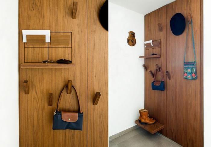 vide poche mural en bois, étagère vide poche pour l'entrée