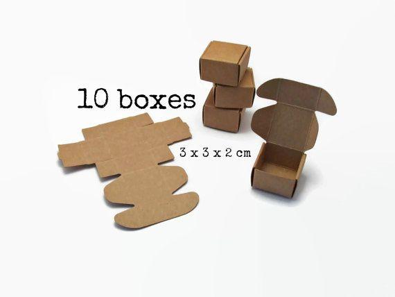 10 Kleine KRAFT BOX 3x3x2 cm (mini kraft box papier bruin karton doosje doos gift box verpakking sieraden oorbellen ring duurzaam cadeau)